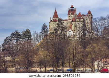 BRAN, ROMANIA - MARCH 22, 2015: Bran Castle, also known as Dracula's Castle. Its fame is created around Bram Stoker character, Dracula, often identified as Vlad Tepes (Vlad the Impaler).