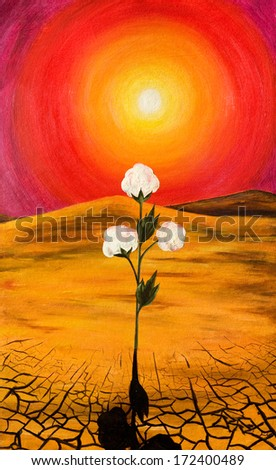Branch cotton against the bright sun. Oil painting. - stock photo