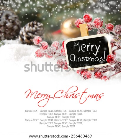 Branch full of red baubleswith sign covered by snow - stock photo