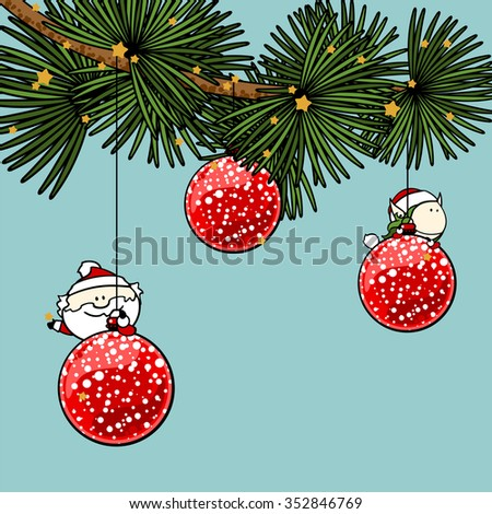 Branch of a decorated Christmas tree with cute tiny Santa Claus and fairy girl (raster version) - stock photo
