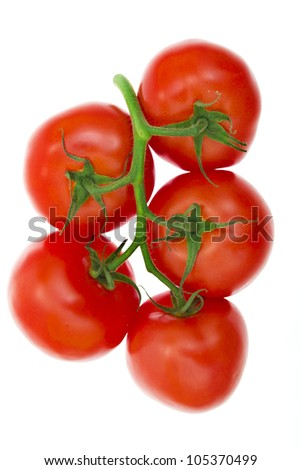 Branch of cherry tomatoes isolated on white background - stock photo