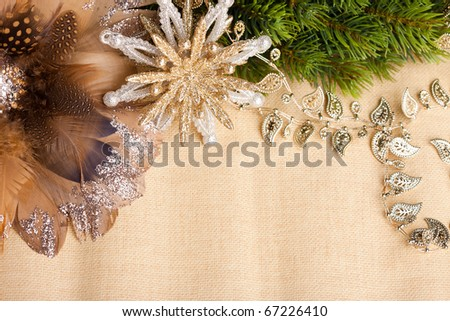 branch of Christmas tree with festive decoration