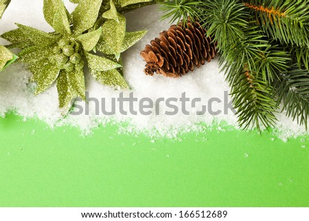 branch of Christmas tree with pinecone and poinsettia - stock photo
