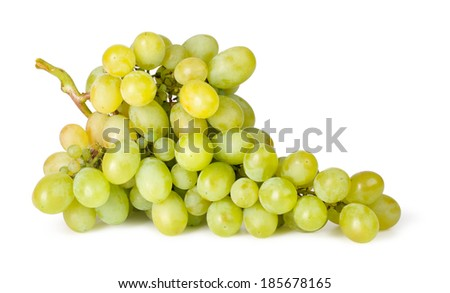 Branch of green grapes isolated on white background - stock photo