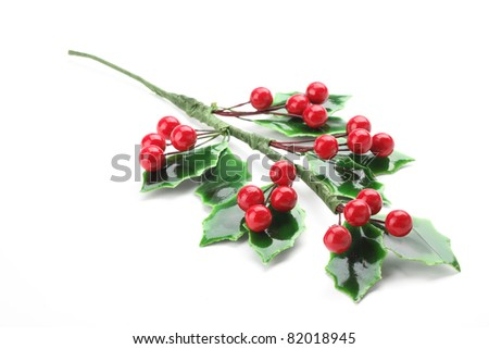 Branch of holly with red berries, isolated on white background. - stock photo