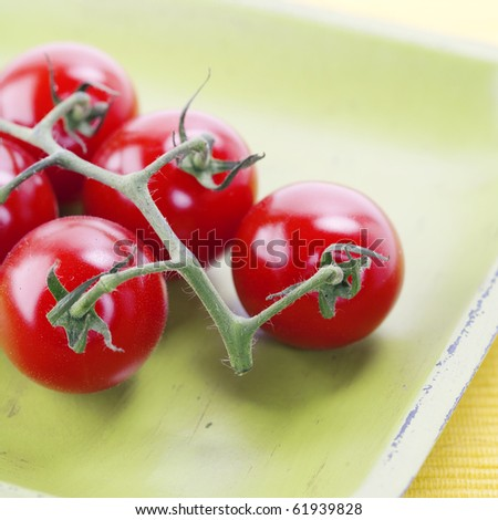 branch of organic cherry tomatoes on old green plate - stock photo