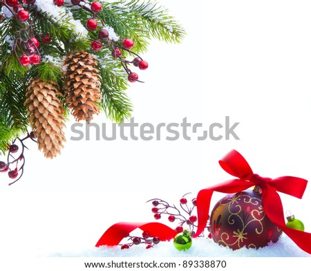 branch of the Christmas tree sheltered snow isolated on white background