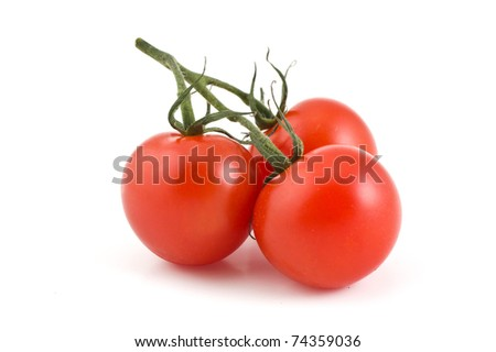 branch of the three cherry tomatoes on a white background - stock photo