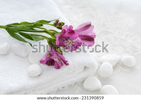 Branch orchid in towel with white stones and white lace  - stock photo