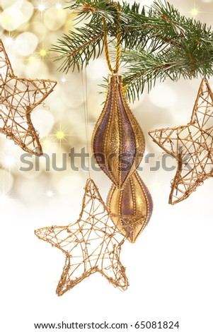 branch with Christmas decorations - stock photo