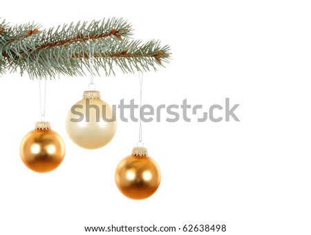 Branch with golden Christmas balls, isolated on white