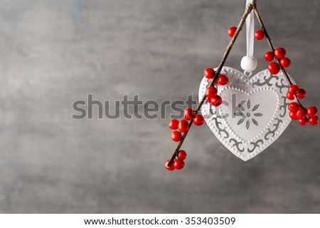Branch with red berries, Christmas decor.