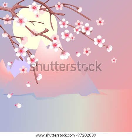 Branches of blooming cherry and  sea with mountains