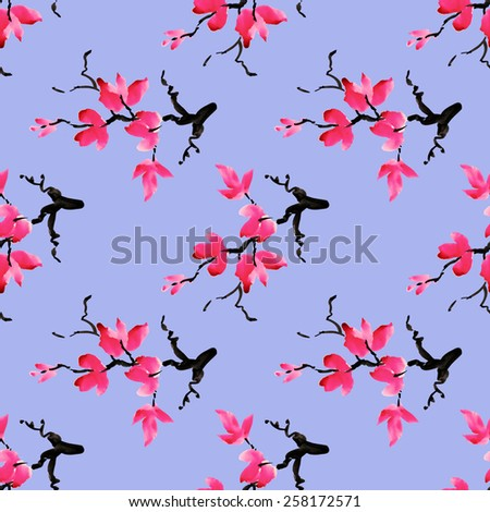 Branches of blooming magnolia flowers, spring watercolor seamless pattern on blue background