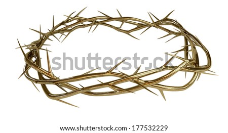 Branches of thorns made of gold woven into a crown depicting the crucifixion on an isolated background - stock photo