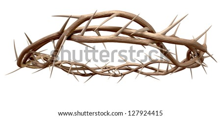 Branches of thorns woven into a crown depicting the crucifixion on an isolated background - stock photo