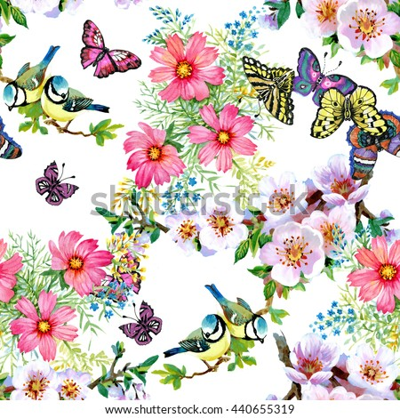 Branches with green leaves and beautiful flowers, cute birds and butterflies watercolor seamless pattern on white background - stock photo