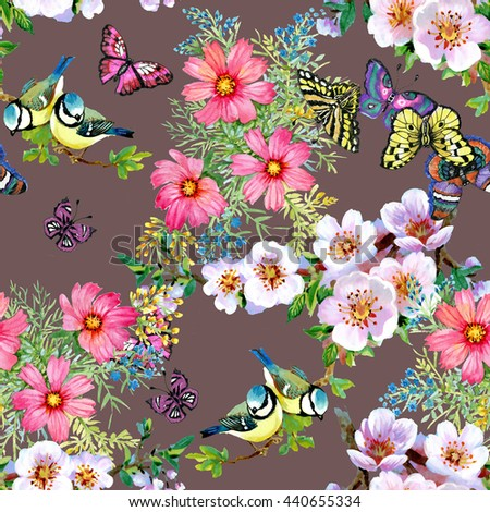 Branches With Green Leaves And Beautiful Flowers Cute Birds Butterflies Watercolor Seamless Pattern On