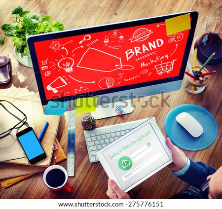 Brand Branding Marketing Commercial Name Concept - stock photo