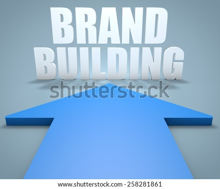 Brand Building - 3d render concept of blue arrow pointing to text. - stock photo