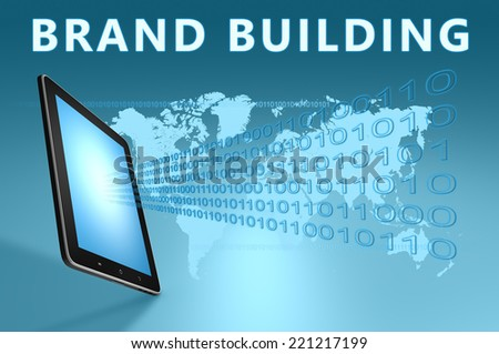 Brand Building illustration with tablet computer on blue background - stock photo