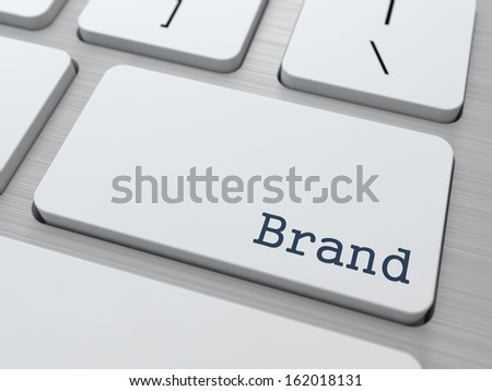 Brand - Business Concept. Button on Modern Computer Keyboard. - stock photo
