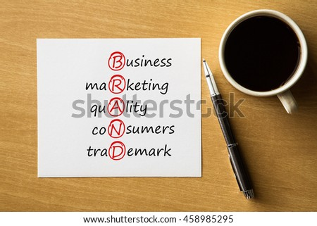BRAND business, marketing, quality, consumers, trademark - handwriting on notebook with cup of coffee and pen, acronym business concept