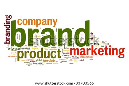 Brand concept in word tag cloud on white background - stock photo