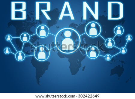 Brand concept on blue background with world map and social icons. - stock photo
