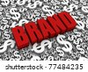 Brand 3D text surrounded by dollar currency symbols. Part of a series. - stock photo