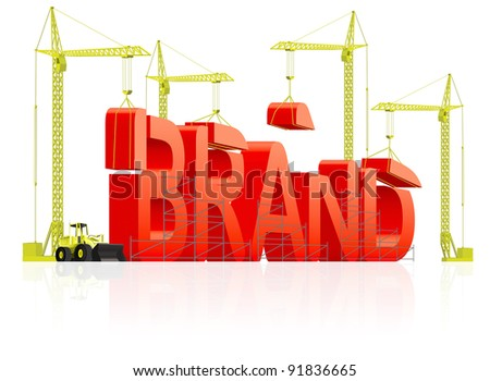 Brand development or creation of strong red product name marketing quality label trademark branding identity building word by cranes concept for market strategy company name - stock photo