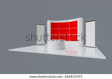 Brand exhibition booth stand template used for mock ups , blank 3d illustration
