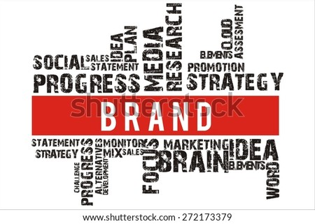 brand in word collage with red background color
