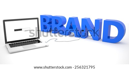 Brand - laptop computer connected to a word on white background. 3d render illustration. - stock photo