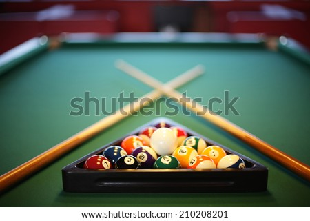 brand new and modern billiard interior in night time - stock photo