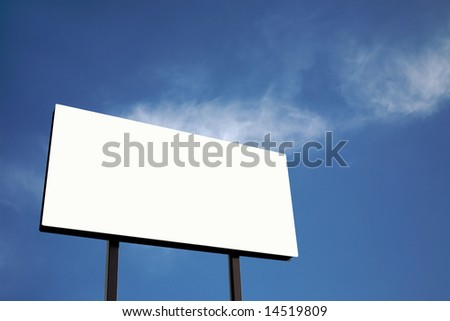 Brand new billboard in blue sky with clouds - stock photo