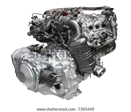 Brand new car engine isolated on white - stock photo