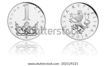 Brand New Czech Crown Coins, 1 CZK, One Crown, The Obverse and Reverse, Czech Currency, Proof Quality, 2014 Minted - stock photo