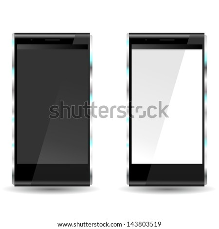 brand new future smartphone 6 release of all best selling top brand, black and white screen - stock photo
