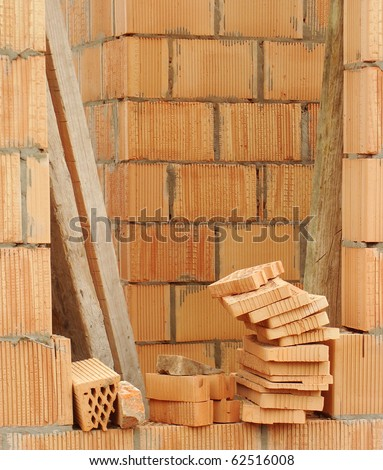 brand-new house in the making , under construction - stock photo