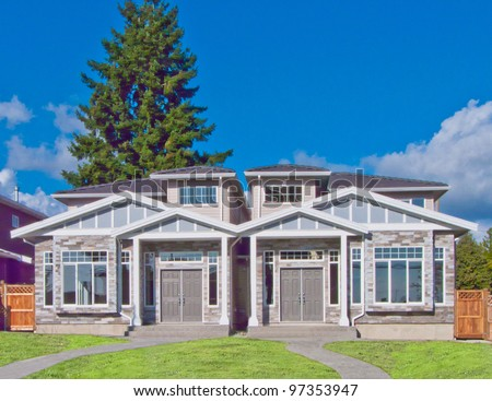 Brand new houses   in suburbs of Vancouver, Canada - stock photo