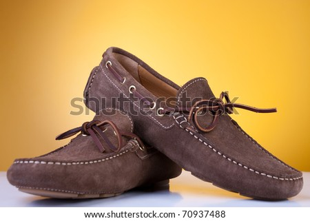 Brand new leather casual shoes. Studio shot. - stock photo