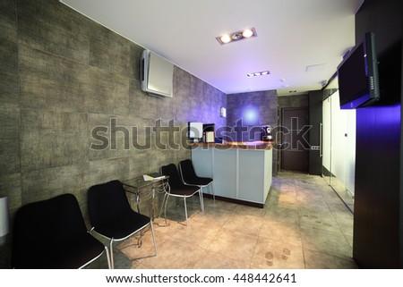 brand new lobby interior of european stomatology - stock photo