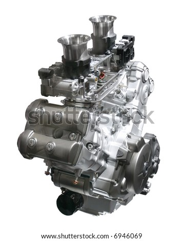 Brand new motorcycle engine isolated over white - stock photo