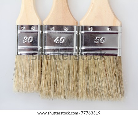 Brand new 3 paint brushes different size, on a white background