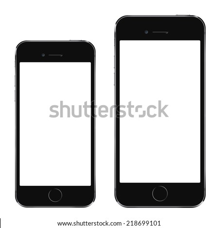 Brand new realistic mobile phone black smartphone in iphon style in two sizes, mockup with blank screen isolated on white background - stock photo