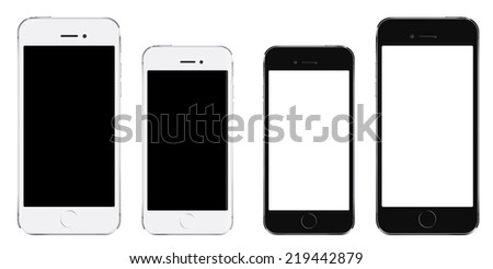Brand new realistic mobile phone smartphone iphon style in two sizes mockup with blank screen isolated on white background - stock photo