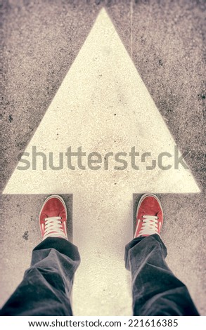 Brand new red shoes from above - stock photo