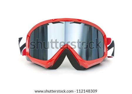 Brand new ski goggles isolated on white background - stock photo