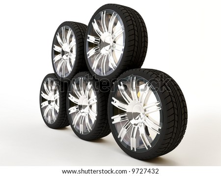 Brand new tires, 3d rendering of car wheel, isolated on white. - stock photo
